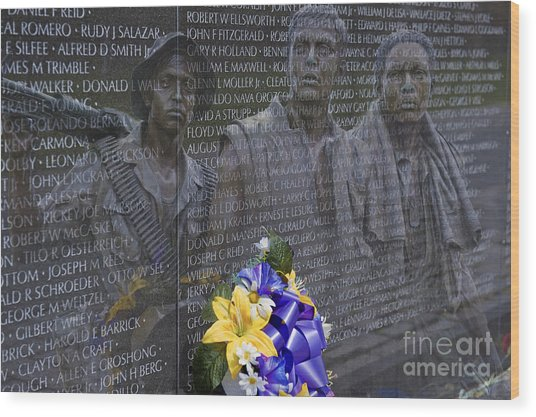 Vietnam Veteran Wall And Three Soldiers Memorial Collage Washington Dc_2 Wood Print
