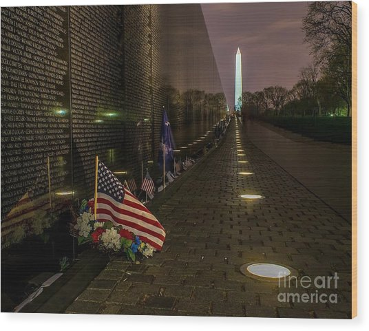 Vietnam Veterans Memorial At Night Wood Print