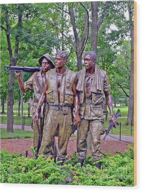 Vietnam War Memorial Three Servicemen Statue In Washington D.c. Wood Print