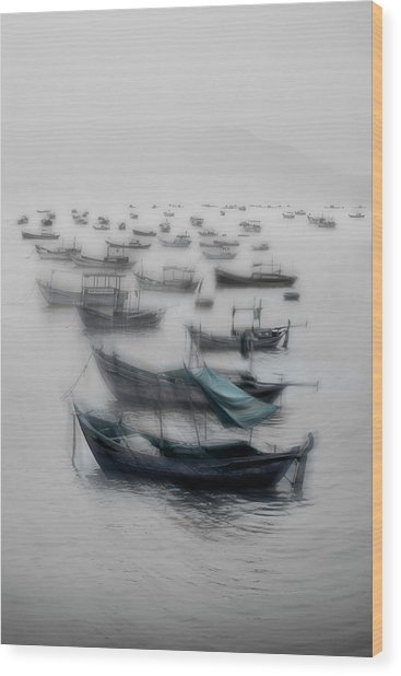 Vietnamese Boats Wood Print