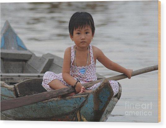 Vietnamese Girl On Lake Tonle Sap Wood Print