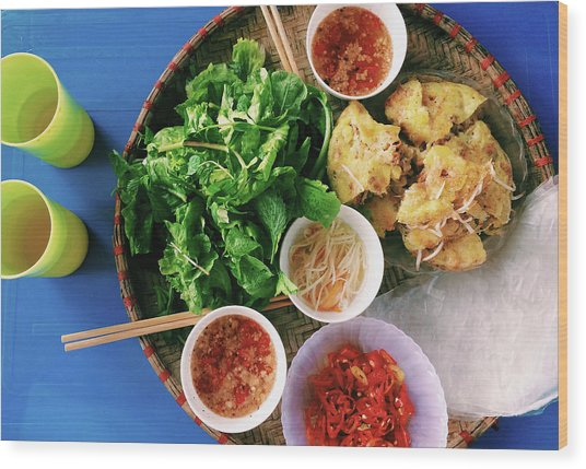 Vietnamese Local Food - Banh Xeo Wood Print by Quynh Anh Nguyen