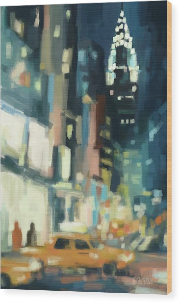View Across 42nd Street New York City Wood Print