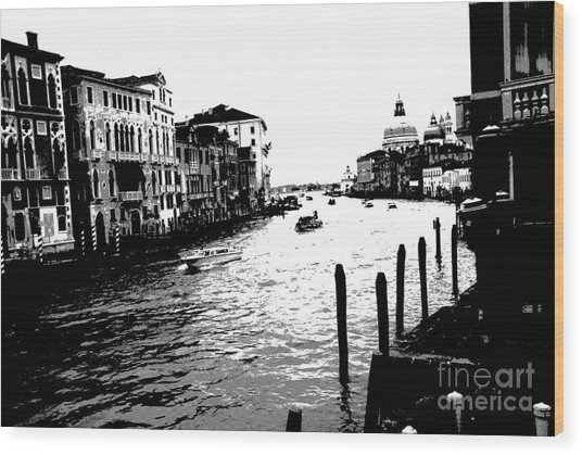 View From Accademia Bridge Wood Print by Jacqueline M Lewis
