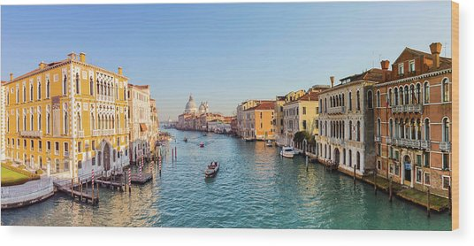 View From Accademia Bridge On Grand Wood Print by Dietermeyrl