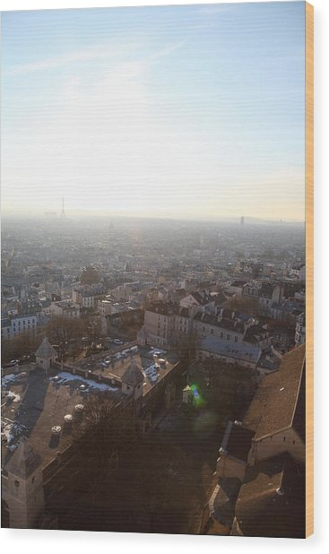 View From Basilica Of The Sacred Heart Of Paris - Sacre Coeur - Paris France - 011314 Wood Print by DC Photographer