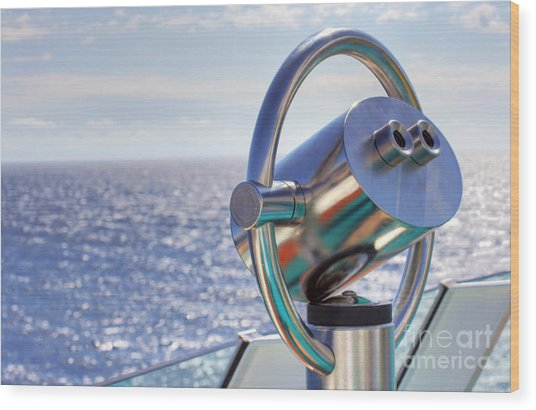 View From Binoculars At Cruise Ship Wood Print by Lars Ruecker