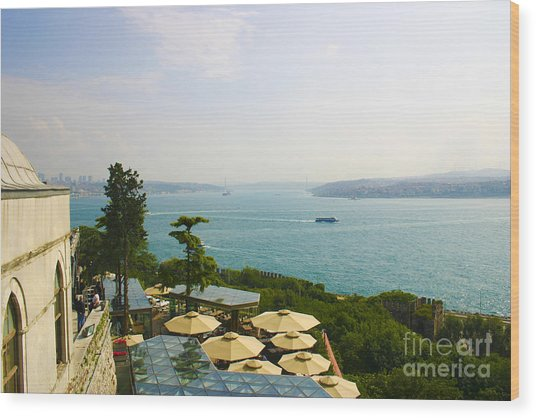 View From Konyali Restaurant To Bosphorus Bridge Connecting Europe And Asia Istanbul Turkey Wood Print by PIXELS  XPOSED Ralph A Ledergerber Photography