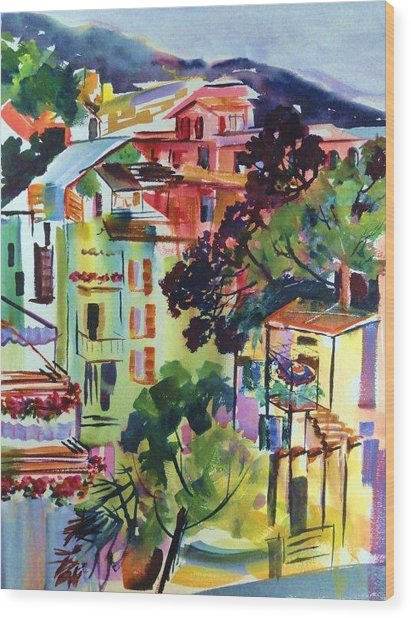 View From Our Hotel Window Cinque Terre Wood Print by Therese Fowler-Bailey