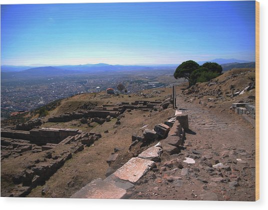 View From Pergamum Acropolis Wood Print by Jacqueline M Lewis