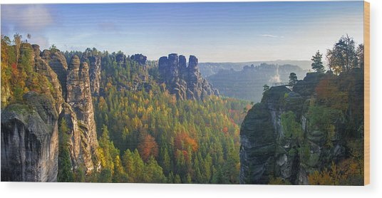 View From The Bastei Bridge In The Saxon Switzerland Wood Print