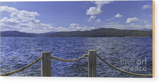 View From The Dock Wood Print by Nancy Marie Ricketts
