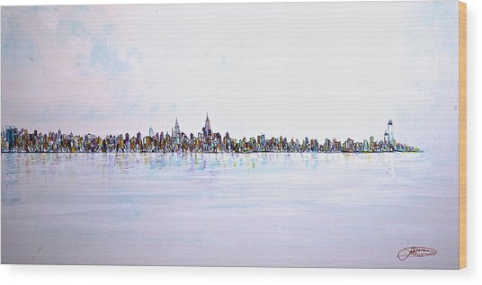 View From The Hudson Wood Print