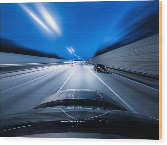 View From The Top Of A Car Driving Down Wood Print by Darekm101