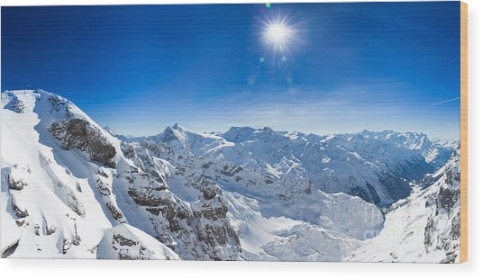 View From Titlis Mountain Towards The South Wood Print