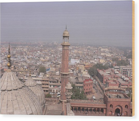 View Of A Mosque (jama Masjid) And Delhi Wood Print by Leontura