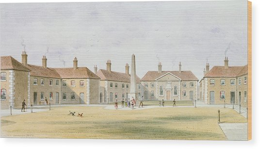 View Of Charles Hoptons Alms Houses, 1852 Wc On Paper Wood Print