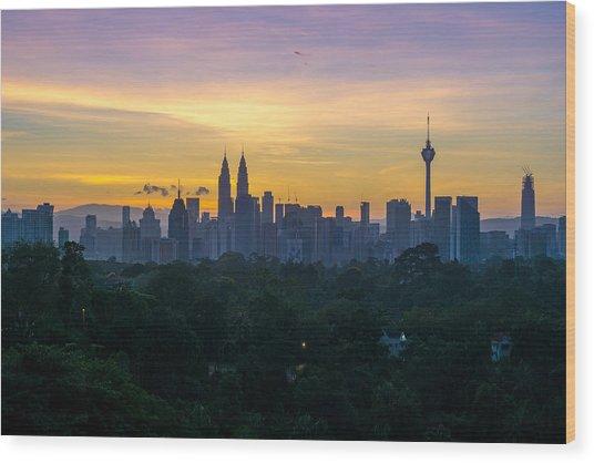 View Of Cityscape Against Sky During Sunset Wood Print by Shaifulzamri Masri / EyeEm