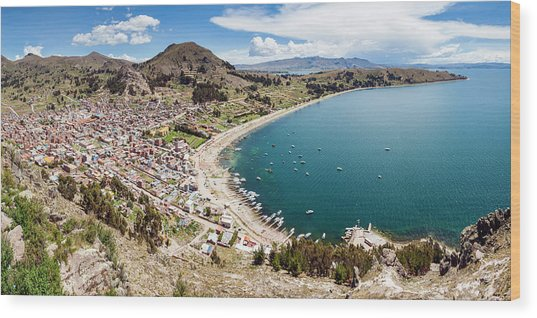 View Of Copacabana And Lake Titicaca Wood Print