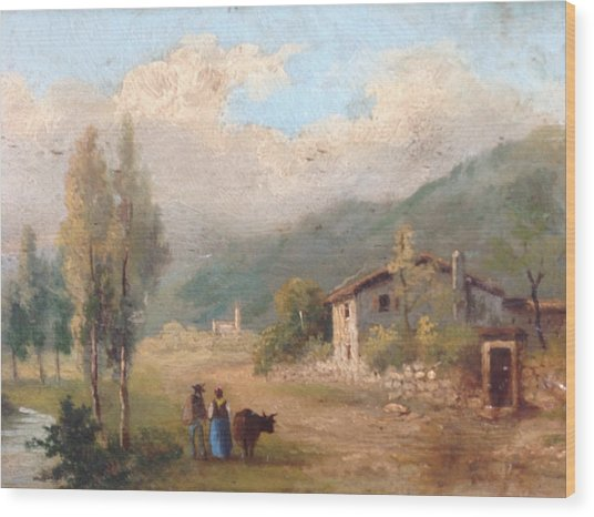 View Of Countryside Wood Print