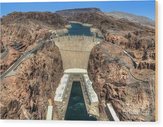 View Of Hoover Dam Wood Print