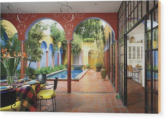 View Of Interior Restaurant Wood Print