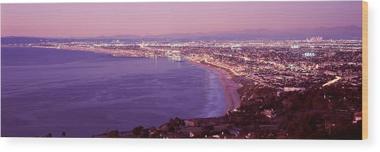 View Of Los Angeles Downtown Wood Print