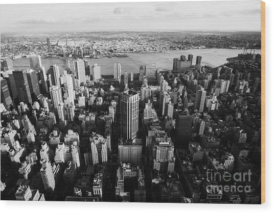 View Of Manhattan East River Looking Towards Queens New York City Usa Wood Print by Joe Fox