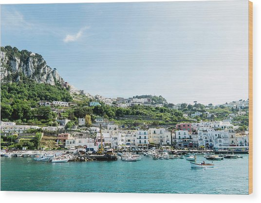 View Of Marina Grande From The Sea Wood Print by Arnt Haug / Look-foto