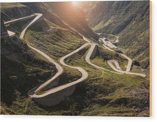 View Of Old Road To Gotthard Pass Wood Print by Walter Zerla