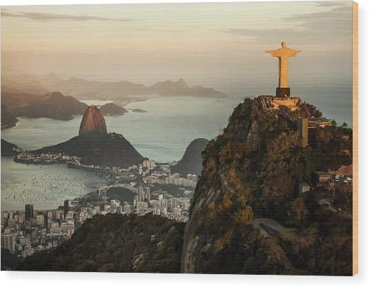 View Of Rio De Janeiro At Sunset Wood Print