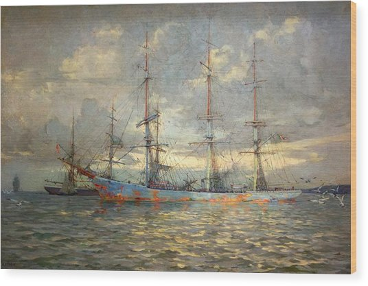 View Of Schooners At Anchor In A Cornish Estuary Wood Print