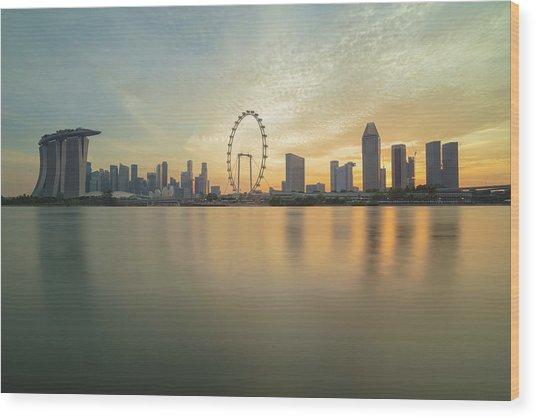 View Of Singapore Skyscraper Wood Print by Natthawat