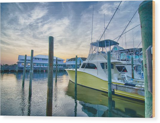 View Of Sportfishing Boats At Marina Wood Print