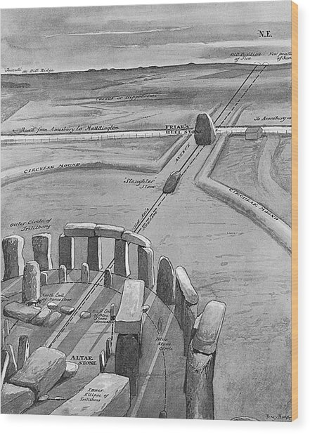 View Of Stonehenge At Sunrise On 21 Wood Print by Mary Evans Picture Library