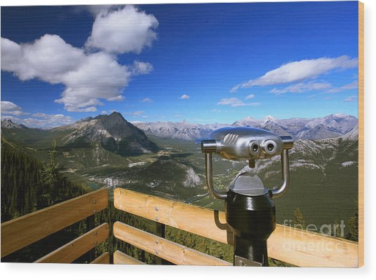View Of The Canadian Rockies Wood Print