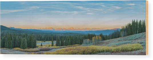 View Of The Grand Teton Mountains Wood Print by Richard and Susan Day