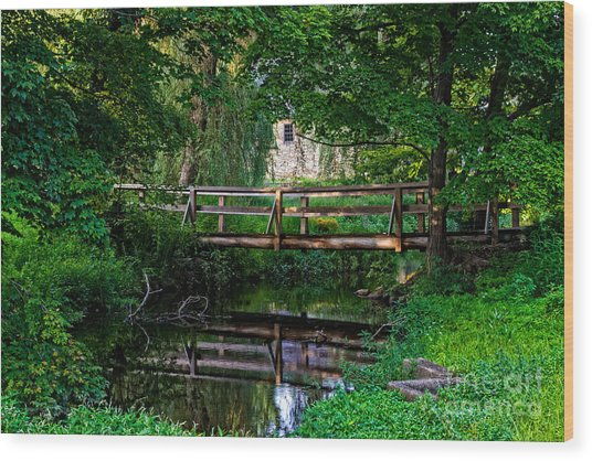 View Of The Grist Mill At Waterloo Village Wood Print
