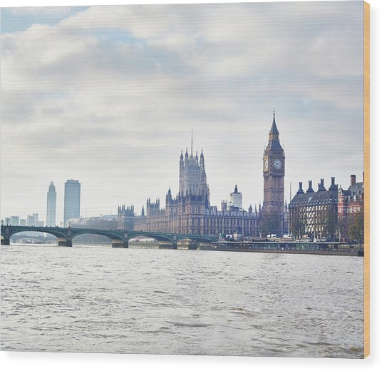 View Of The Houses Of Parliament And Wood Print by Frank And Helena