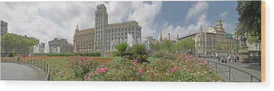 View Of The Placa De Catalunya Wood Print