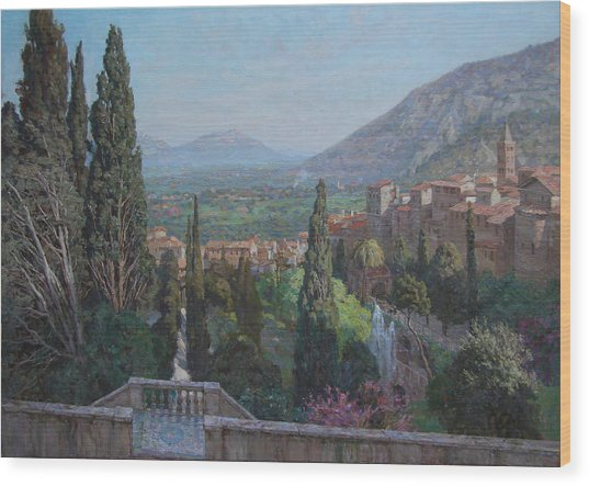 View Of Tivoli From The Terrace Of Villa D'este Wood Print by Korobkin Anatoly