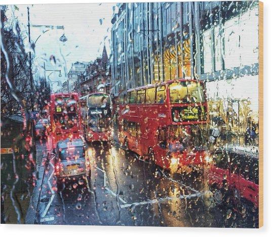 View Of Traffic Through Wet Window Wood Print by Silvia Michelucci / Eyeem