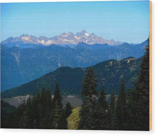 View Of Twin Sisters From Sauk Mountain Wood Print