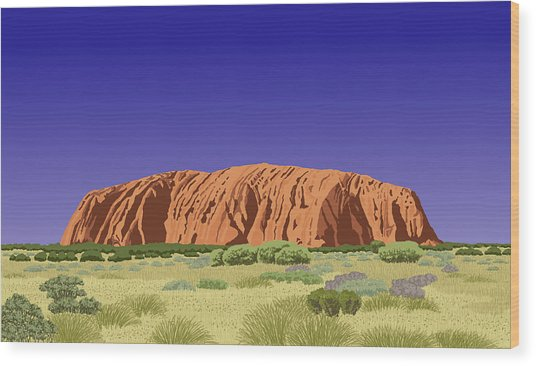 View Of Uluru / Ayers Rock Wood Print