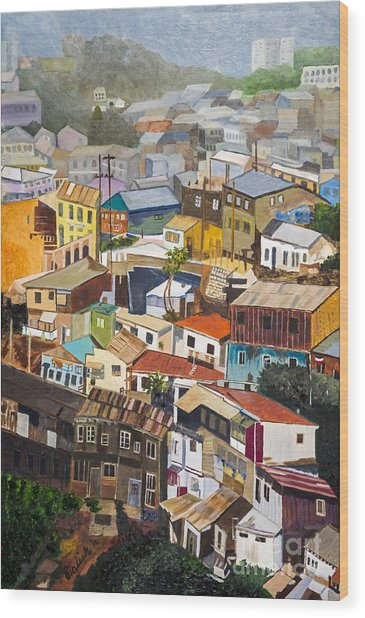 View Of Val Pariso Chile By Stan Bialick Wood Print by Sheldon Kralstein