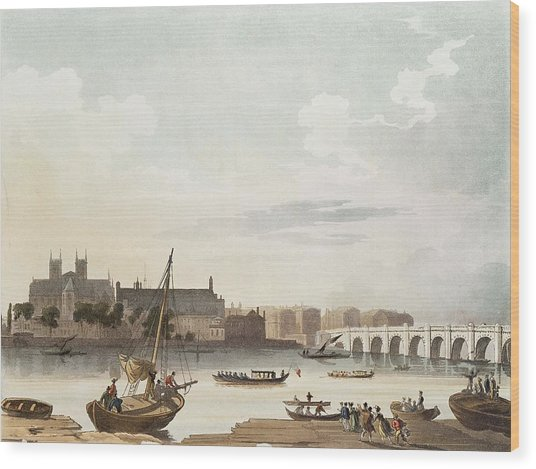 View Of Westminster And The Bridge Wc On Paper Wood Print