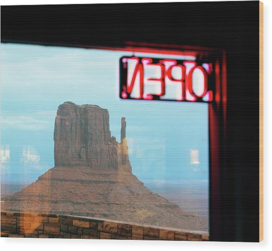 View Om Monument Valley Scene Through Wood Print