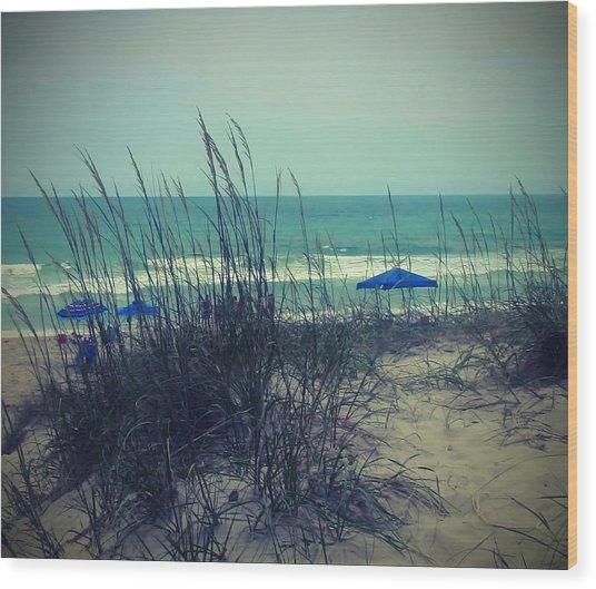 View Thru The Beach Grass Wood Print