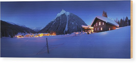 View To Gargellen At Night, Montafon Wood Print