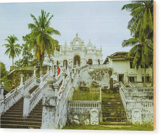 view to the Dodanduwa Temple Wood Print by Gina Koch